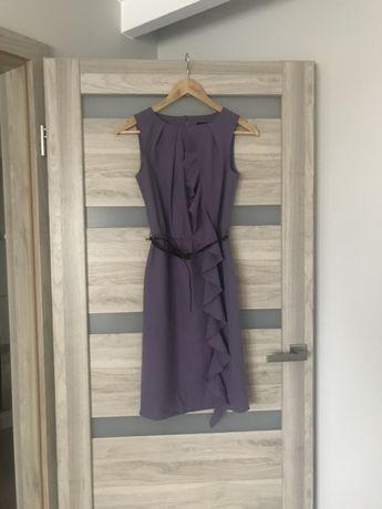 NOWA fioletowa sukienka z falbanką XS