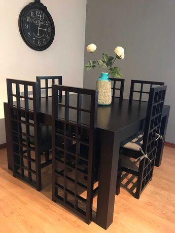 VENDO - Mesa com 6 cadeiras e aparador em wenguê