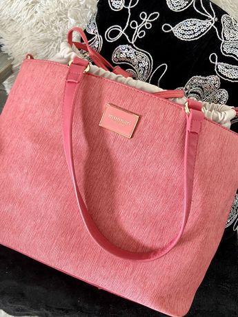 Monnari różowa torebka do ręki torba beżowa kremowa worek
