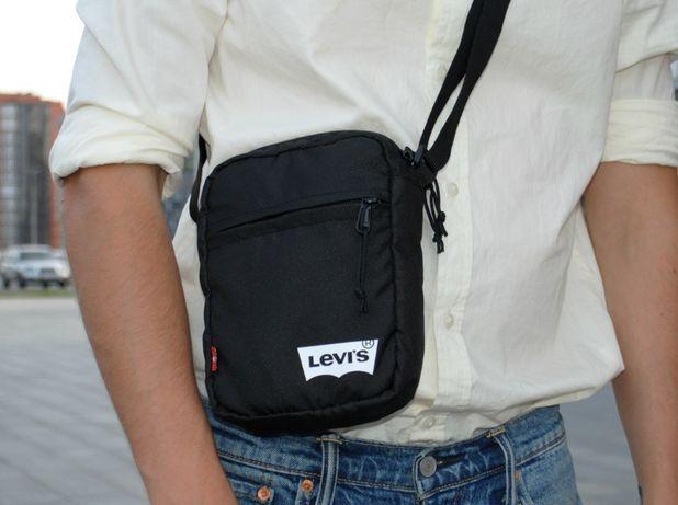 Черная мужская сумка мессенджер на плечо Levi's, Levis Чоловіча