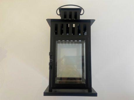 Lanterna preta para vela grossa, interior/exterior, 28 cm