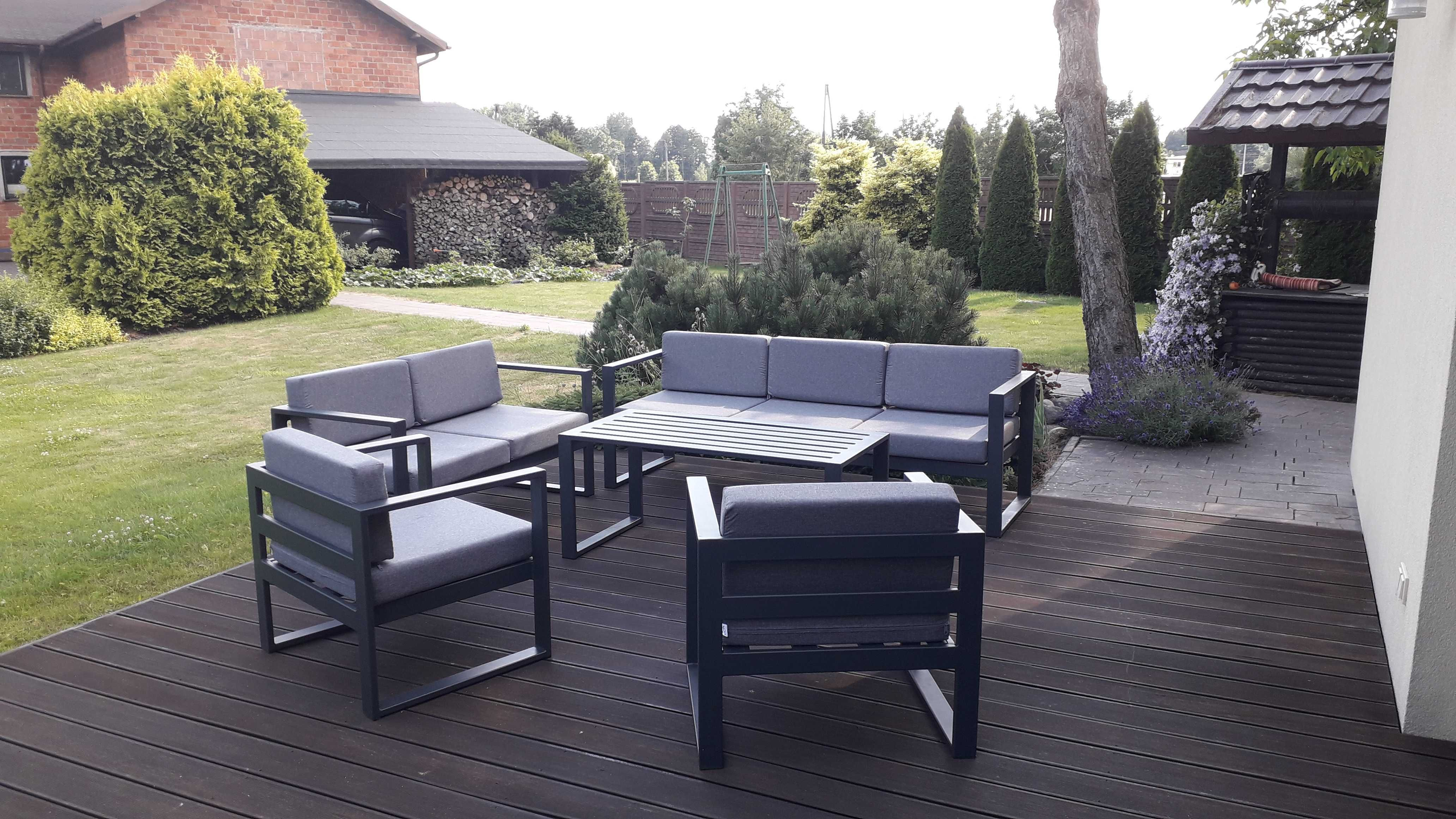 PROMOCJA zestaw mebli stalowych na ogród + poduszki / MEBLE ogrodowe