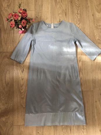 Платье туника сарафан голубое вельветовое прямое размер s