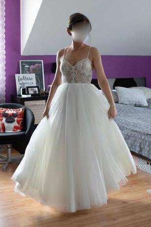 Romantyczna suknia ślubna koronka tiul