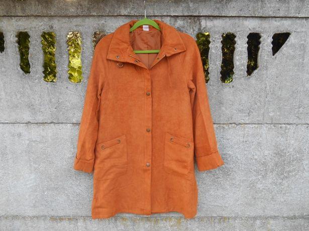 Nowy Płaszcz 40 L/42 XL długi cienki jesienny brąz/rudy