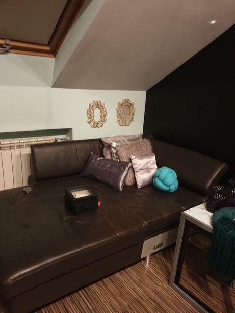 Sprzedam szezlong pol kanapy kanapa sofa ze skrzynią skóra