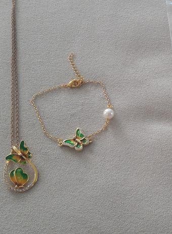 Nowy zestaw biżuterii łańcuszek i bransoletka.prezent na dzień matki