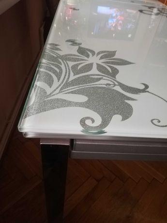 Stół szklany ozdobny rozkładany biały szary prostokąt