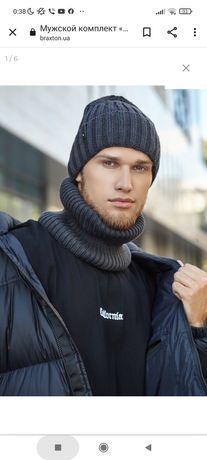 Мужской зимний комплект шапка шарф бафф Braxton