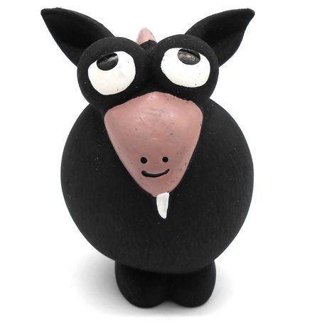Zabawka gumowa lateksowa piszczałka dla psa gryzak koza czarna 13cm