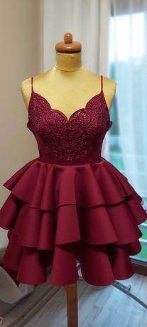 Bordowa sukienka weselna koronka