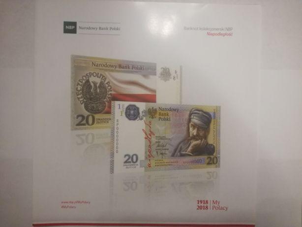 Folder do banknotu kolekcjonerskiego 20zł Niepoległość