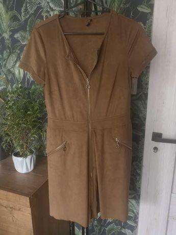 Sukienka szmizjerka brązowa zip Troll L 40