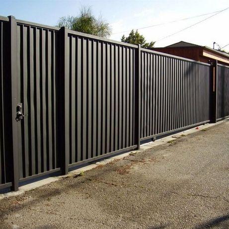 Забор со штакетника, еврозабор, ворота, навес,забор с профнастила