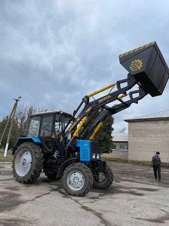 Быстросъёмный погрузчик КУН на трактор МТЗ, ЮМЗ General X с ковшом 2м