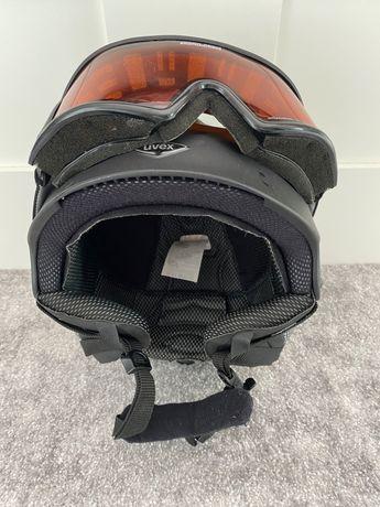 Kask narciarski UVEX z goglami i uchwytem do kamerki sportowej