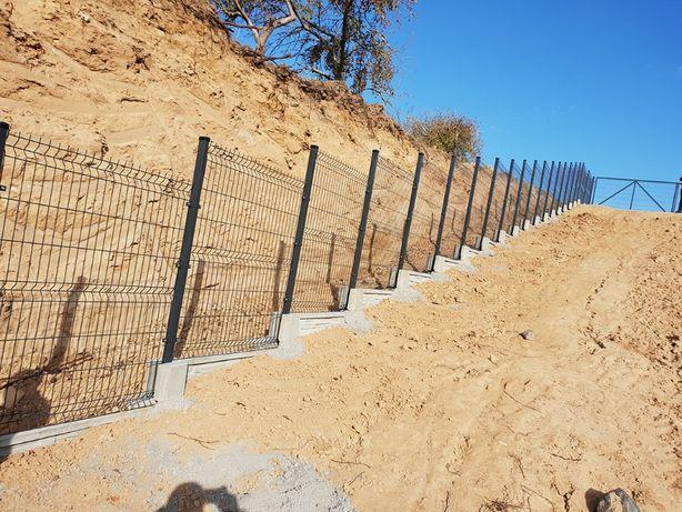 PROMOCJA! ogrodzenie panelowe FI4, 123 cm, słupek, obejmy, śruby