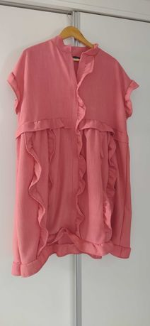 Vestido/túnica cor coral novo com etiqueta
