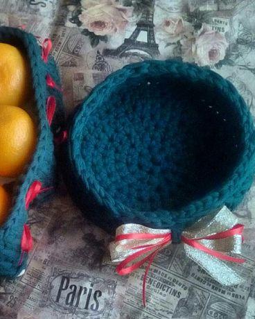 Корзиночки из трикотажной пряжи бобилон