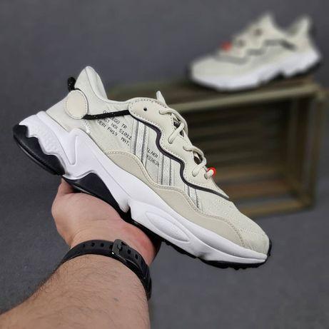10341 Adidas OZWEEGO бежевые кроссовки мужские женские ТОП бежеві