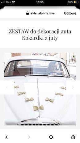 Dekoracje dekoracja ślubna, weselna na samochod ze sznurka jutowego
