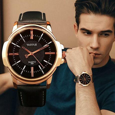 Мужские кварцевые часы YAZOLE 358 Кожаный ремешок