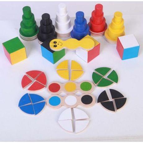 Монтессори Деревянный набор Hega, кубики, пазлы, сортер по цветам