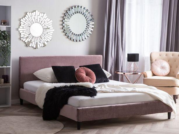 Capa de estrutura de cama em veludo rosa 160 x 200 cm FITOU - Beliani