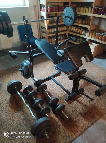 Zestaw do ćwiczeń Ławka Sztangi, łączny ciężar 120 kg