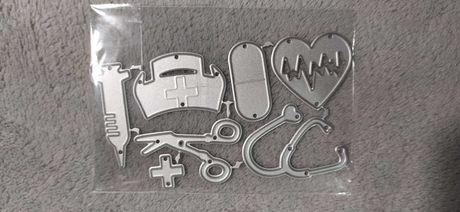 Pielęgniarka atrybuty, strzykawka, stetoskop wykrojniki scrapbooking