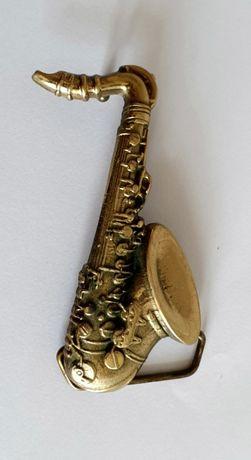 SOLID BRASS 1980 BARON BUCKLE saksofon muzyka klamra kolekcjonerska
