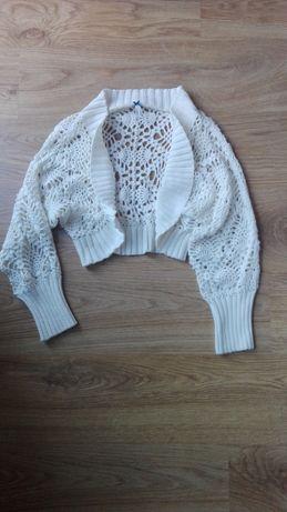 ażurowy dziergany sweter sweterek bolerko góralski krótki l 40 cubus