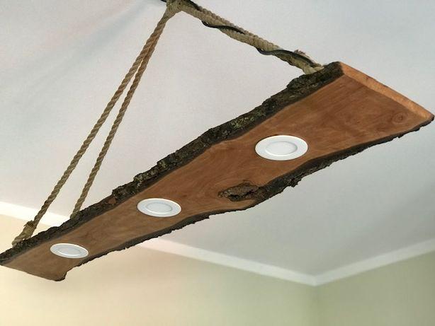 lampa drewno loft handmade
