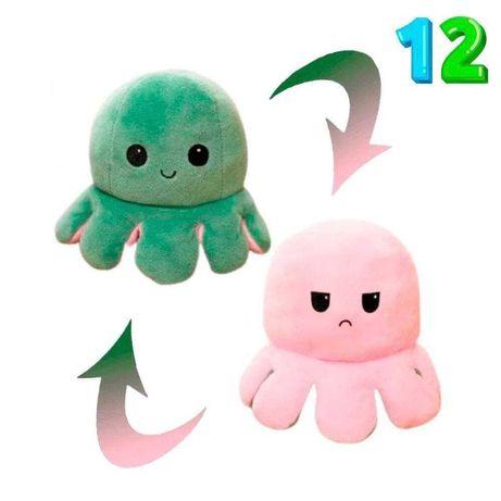 Восьминіг двосторонній(перевертиш) рожево-зелений. М'яка ірграшка