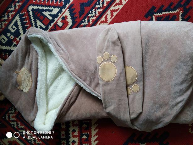 Конверт одеяло теплый кашемир,с капюшоном на меху