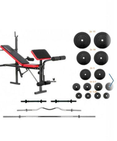 Тренажёр Лава для жиму RN-Sport EverTop + Штанга 83 кг, гриф W, гантел