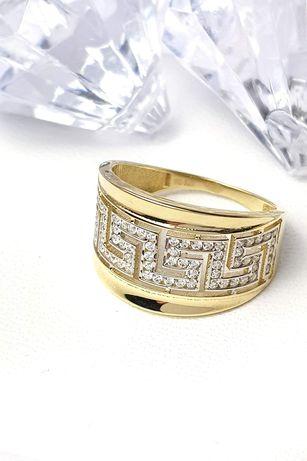 Złoty szeroki pierścionek z greckim wzorem i cyrkoniami r.15/17 pr.585