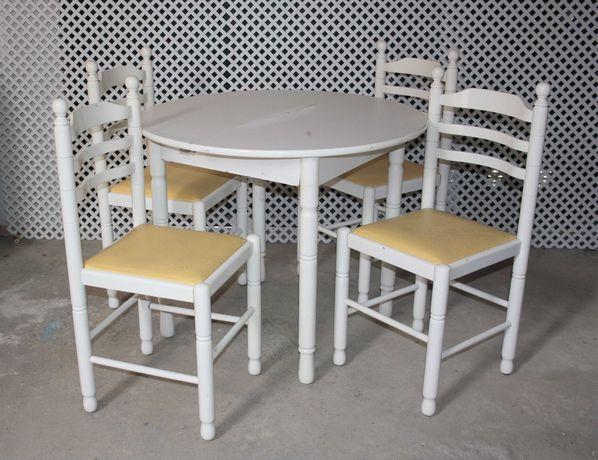 Mesa + 4 cadeiras lacadas branco