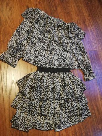 Piękny komplet panterka spódnica plus bluzka
