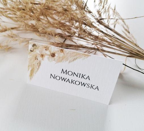 Winietki na stół weselny w stylu boho z trawą pampasową