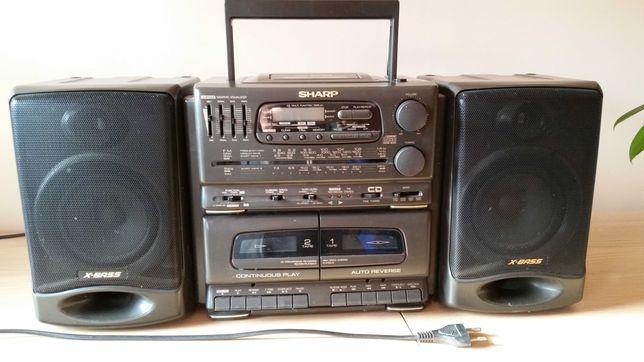 Miniwieża   Radiomagnetofon SHARP GX-CD555Z (GY)    CD KASETAx2 RADIO