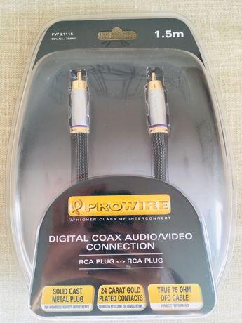 Przewód /kabel coaxialny audio video RCA wtyk 1,5m