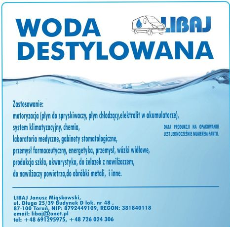 Woda demineralizowana / destylowana 1000L luz