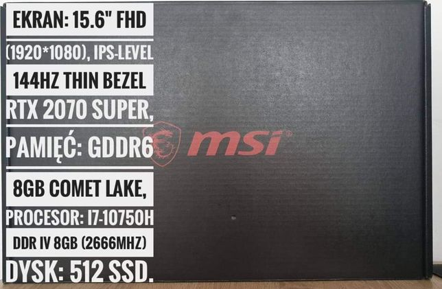 Gamingowy laptop MSI GL65 15.6 144hz i7, 8GB,512SSD, rtx2070 super 8gb