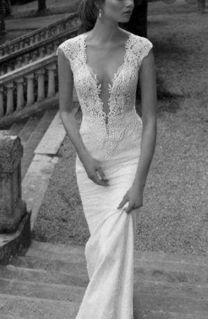 Suknia ślubna Madonna S 36 Berta Bridal 1129 Ivory koronka tren boho