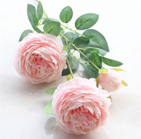 Sztuczne długie różowe róże
