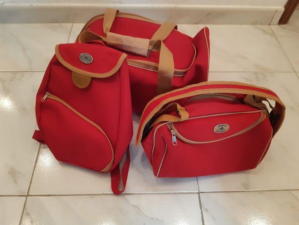 Conjunto saco+mochila+nécessaire, NOVOS