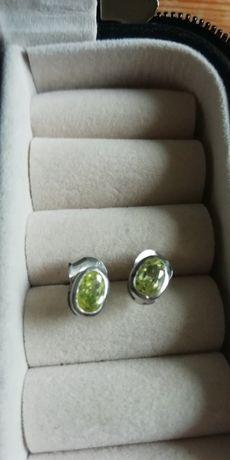 Kolczyki Srebne zielona cyrkonia