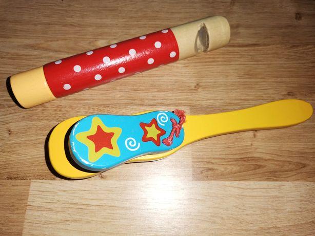Drewniane instrumenty gwizdek, kołatka