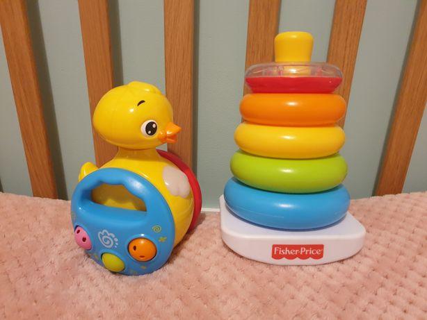 Zestaw dwóch zabawek dla maluszków, piramidka i grająca kaczka